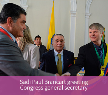 Sadi Paul Brancart greeting Congress general secretary